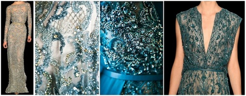 Broderies de la collection Haute-Couture AH 2012-2013 du Couturier Elie Saab, broderies perlées paillettes strass