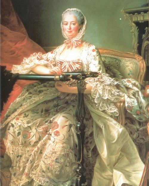 Tableau représentant Mme de Pompadour brodant sur son métier au crochet de Lunéville
