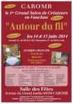 affiche du salon des créateurs Autour du fil à Caromb, Vaucluse, les 14 et 15 juin 2014