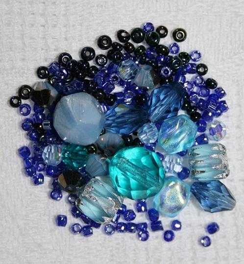 kit de broderie au fil de laiton perles bleues