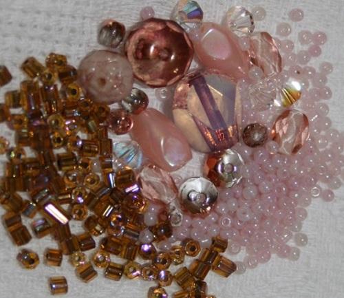 kit broderie fil laiton perles rose doré