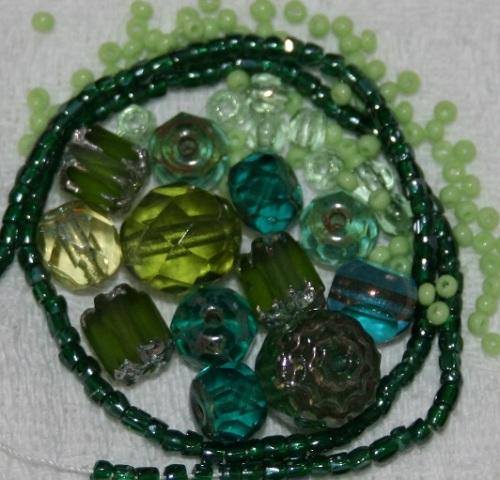 kit broderie perlee laiton perles vertes