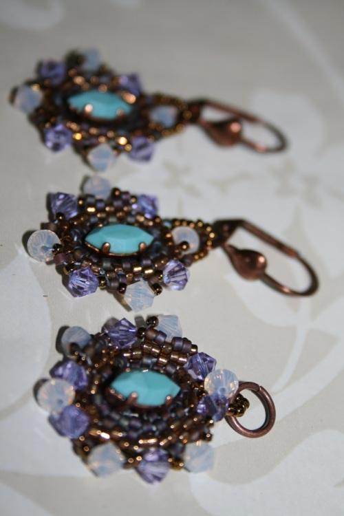 parure turquoise violet tissage a l'aiguille