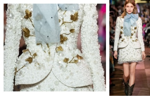 Tailleur blanc brodé de fleurs