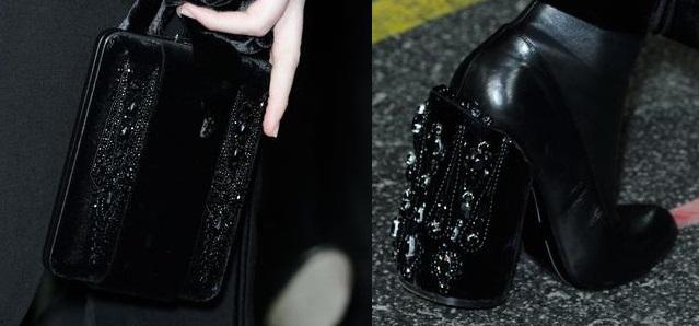 Givenchy : broderie sur velours pour sac et bottes